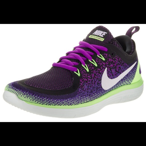 NIKE Free RN Distance 2 purple green running shoes